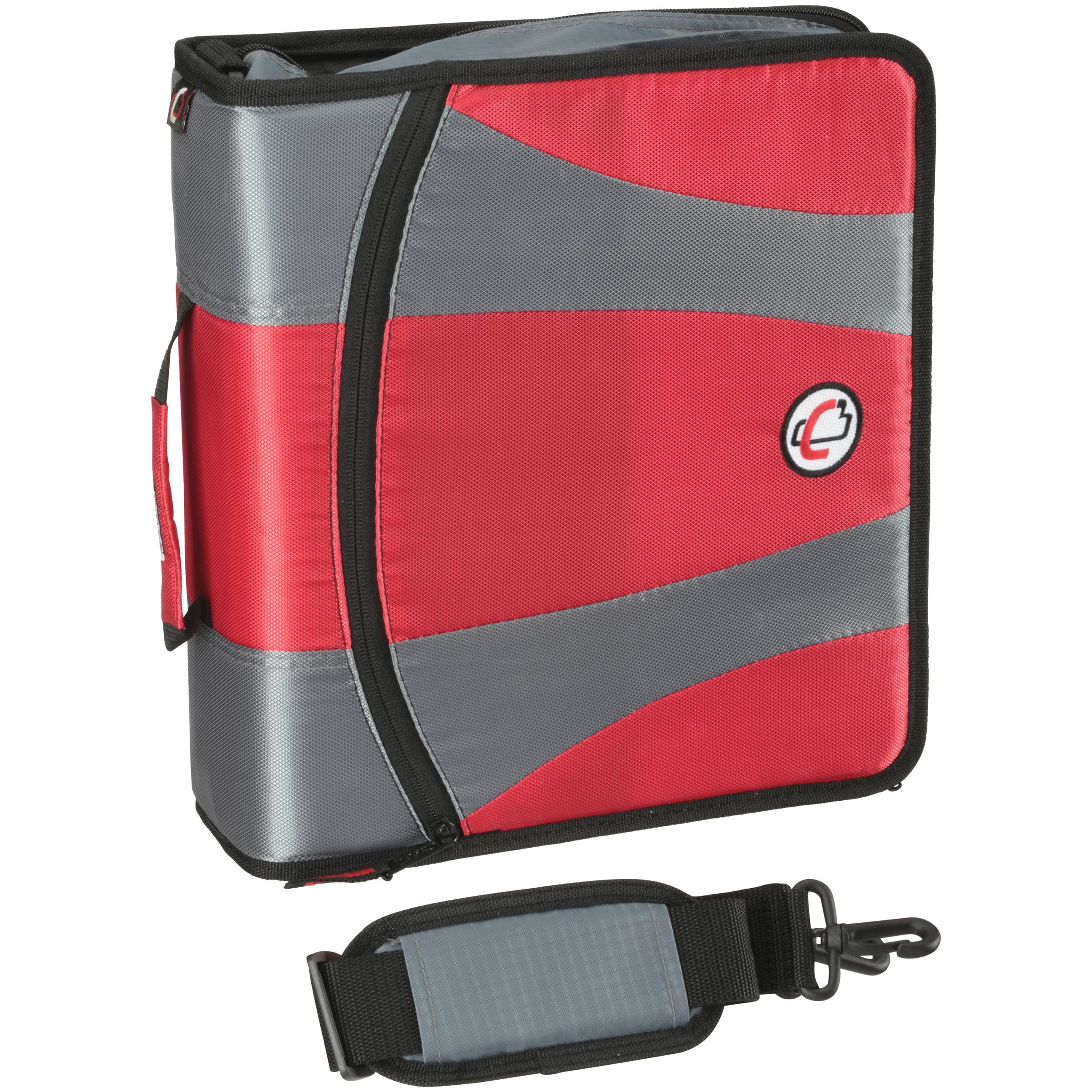 Case It Dual Ring Zipper Binder, Red, 4 Inch, DUAL-301