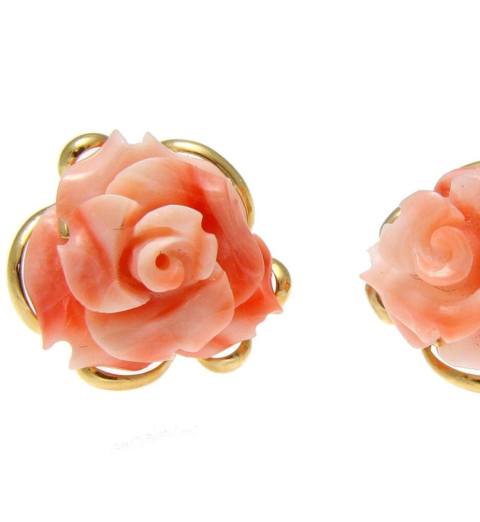 Genuine natural carved pink coral flower stud post earrings 14k yellow gold by