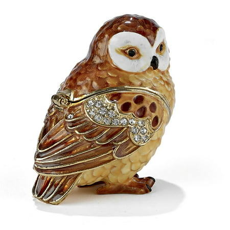 - Brown and White Owl Bejeweled Enamel Jewelry Trinket Keepsake Box Container Bird
