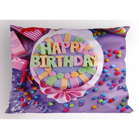 Birthday Pillow Sham Delicious Cake On A Table With Stars And Presents Party Yummy Dessert