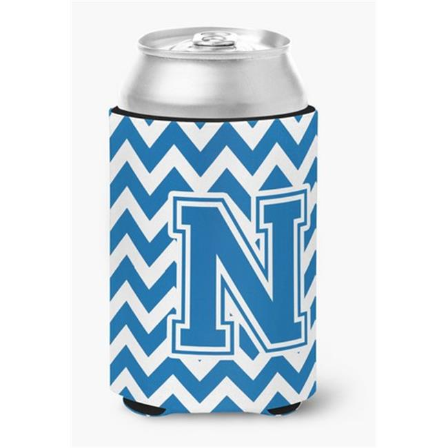 Carolines Treasures CJ1056-NCC Letter N Chevron Blue & White Can or Bottle Hugger, 0.25 x 4 x 5.5 in. - image 1 of 1