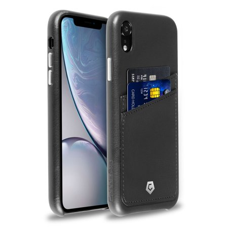 pretty nice 71612 78a10 Cobble Pro Wallet Case for iPhone XR Leather Back Cover Phone Case with  Card Holder Slot - Black