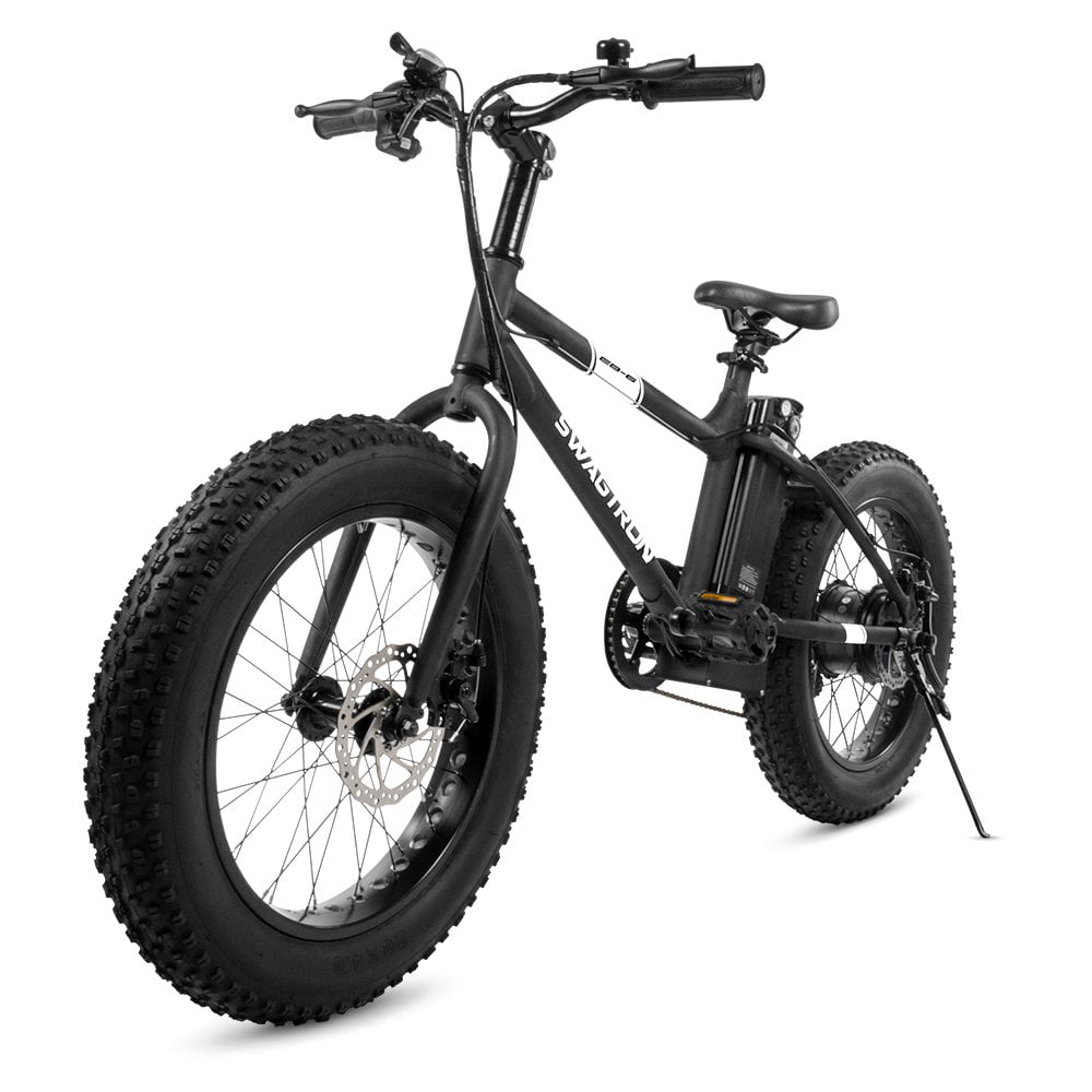 Swagtron EB6 Bandit Ebike Fat Tire Electric Bike 350W High-speed with Power Assist, Dual Disc Brakes, Shimano Shifting Built for Trail Riding