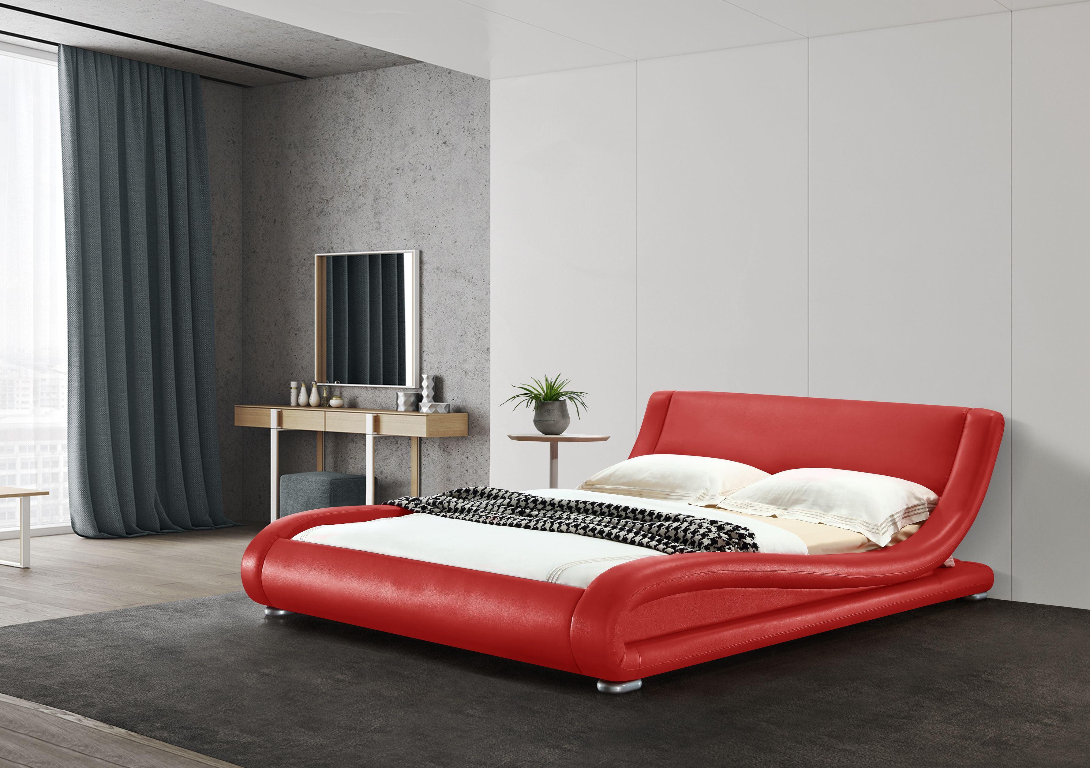Greatime B1070 Contemporary Upholstered Platform Bed Full Red Walmart Com Walmart Com