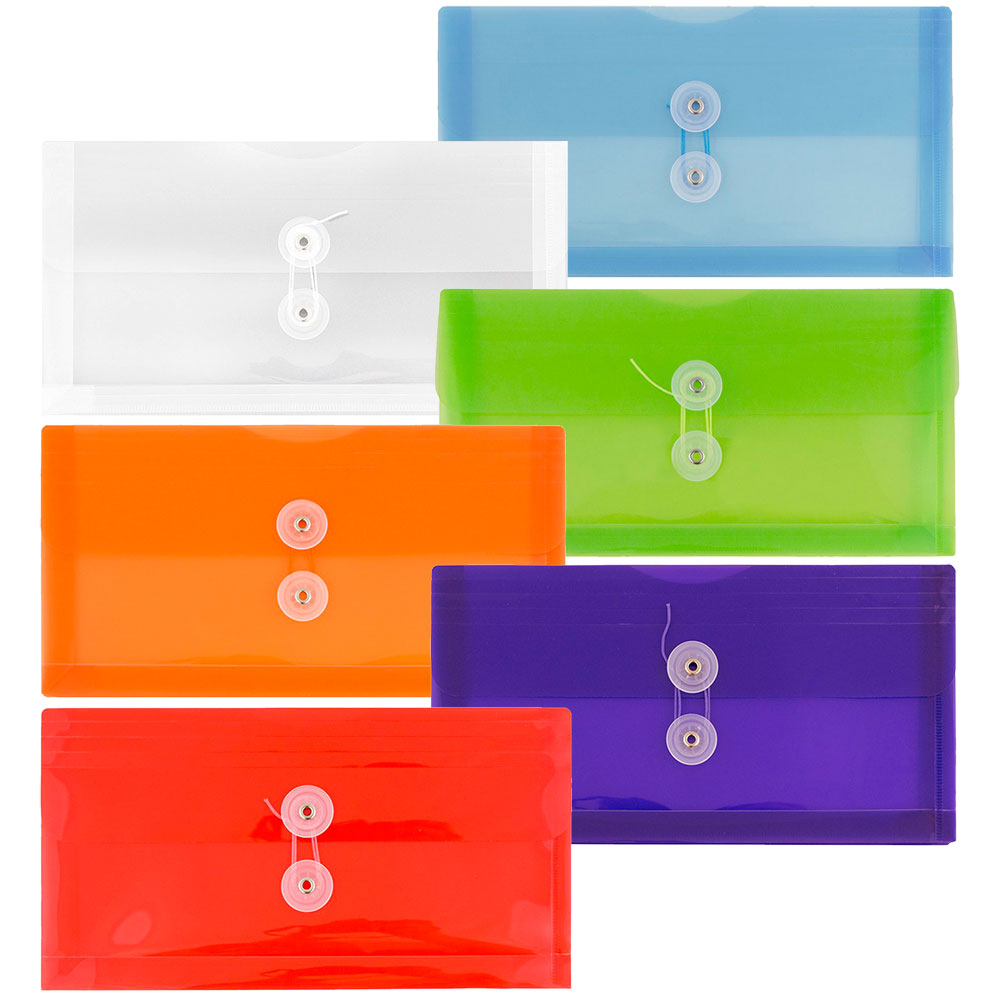 JAM Paper #10 Plastic Business Envelope with Button and String Tie Closure, Booklet Wallet, 5 x 10, Assorted Colors, 6/pack