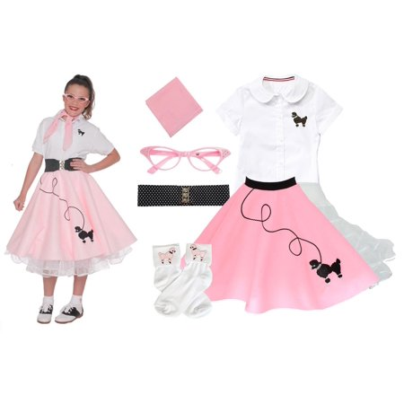 Child 7 pc - 50's Poodle Skirt Outfit - Small Child 4 / Light Pink](Diy 50s Skirt)