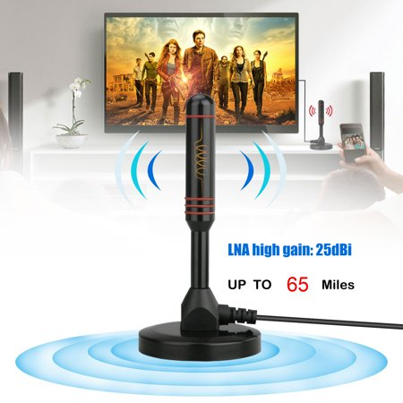 TV Antenna, EEEKit TV Antenna For Digital TV Indoor HD 65 Miles Range 25 dBi HDTV 1080P Support 4K 16ft Coax Cable Adapter ()