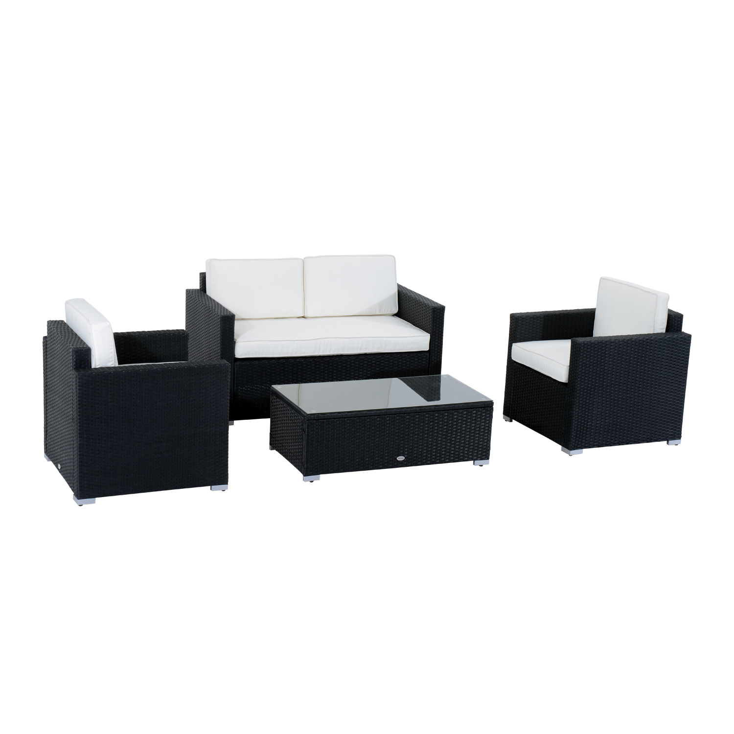 Outsunny Modern 4 Piece Cushioned Outdoor Rattan Wicker Sofa