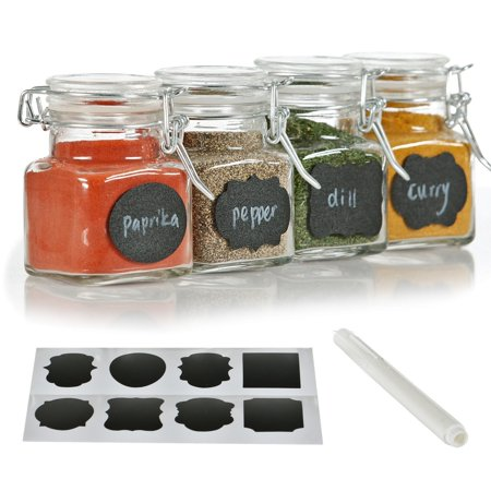 12 Pack - 3 Ounce Mini Clear Glass Spice Jar Container Set with Airtight Lids for Canning, Storage Jars for Tea, Spice, Kitchen Rack Glass Set w/ Reusable Labels, Clear Containers for DIY Materials (Mini Glass Jars With Lids)