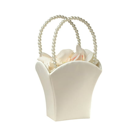 Lillian Rose Ivory Satin Flower Girl Basket (White Flower Girl Basket)