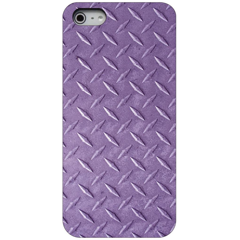 CUSTOM Black Hard Plastic Snap-On Case for Apple iPhone 5 / 5S / SE - Purple Diamond Plate Steel