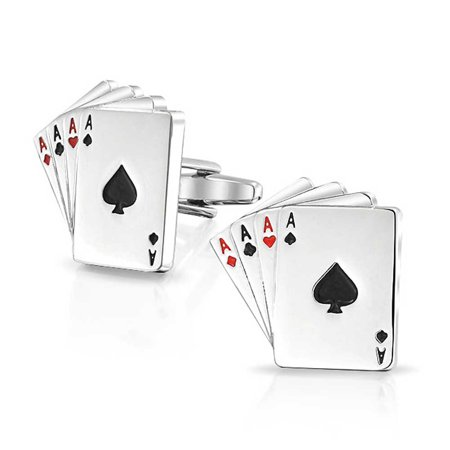 Good Luck 4 Of A Kind Aces Playing Cards Poker Player Cufflinks For Men Shirt Cufflinks Brass Silver Tone