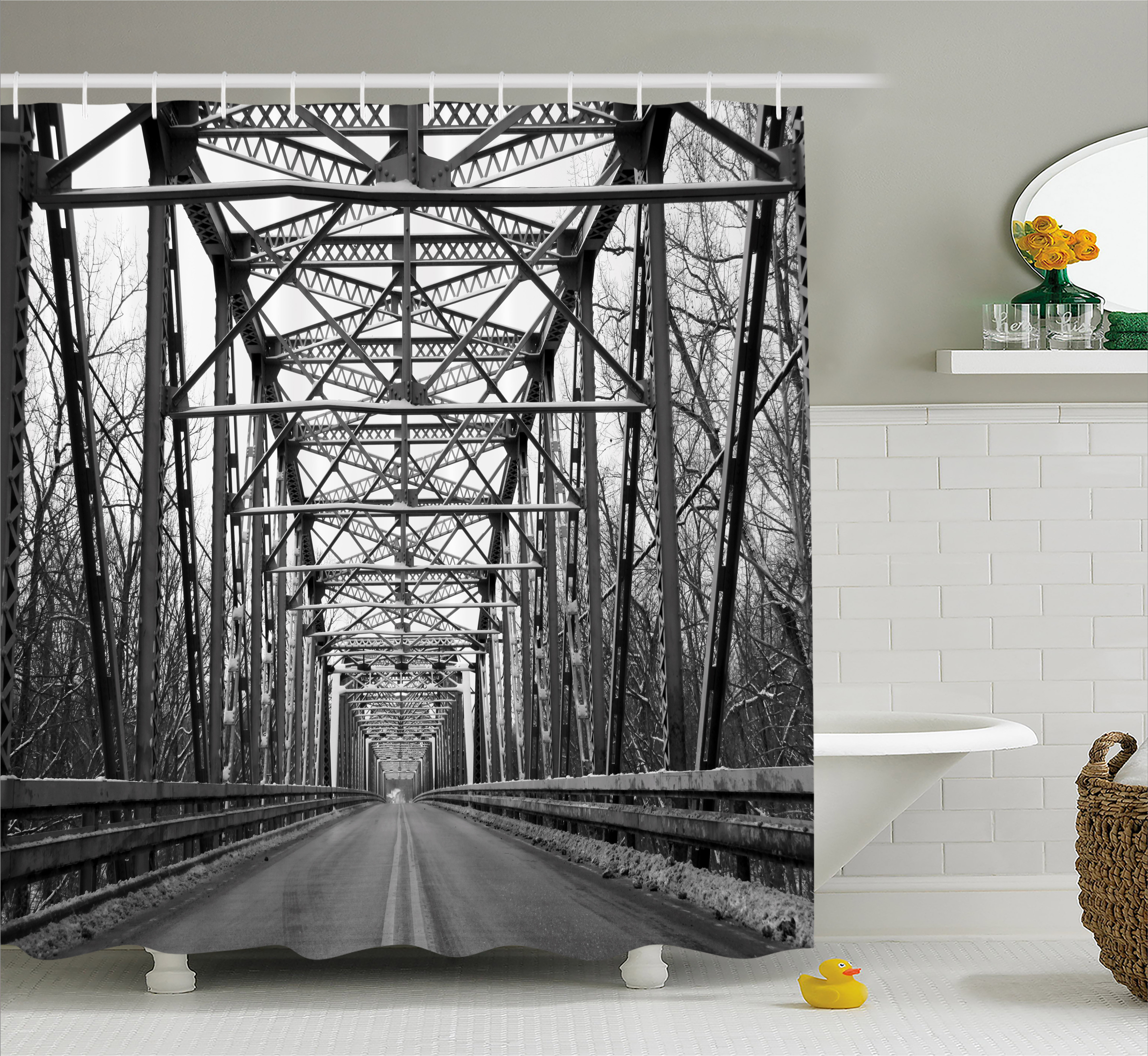 Black and White Shower Curtain, Road Through Bridge Tunnel Urban City and Modern Architecture Image, Fabric Bathroom Set with Hooks, 69W X 75L Inches Long, Black White Grey, by Ambesonne