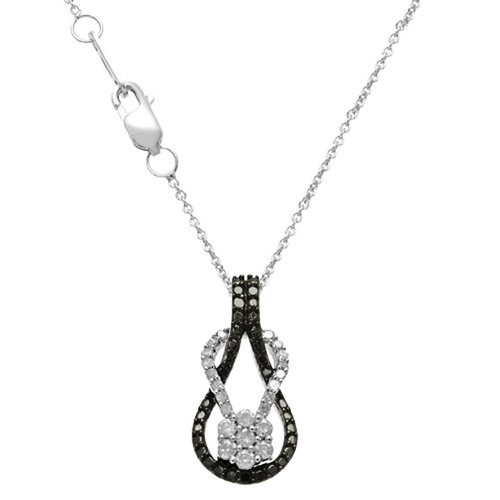Always And Forever 1/3 Cttw Trtd Diamond B And W Knot Penda