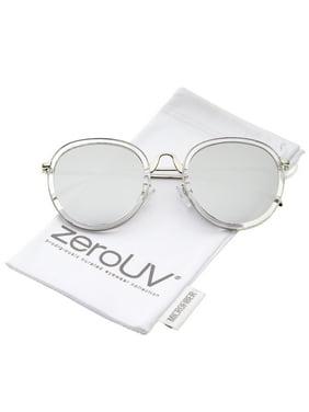 42028c8e3f7 Product Image zeroUV - Modern Arched Bridge Slim Temple Colored Mirror Flat  Lens Round Sunglasses 52mm - 52mm