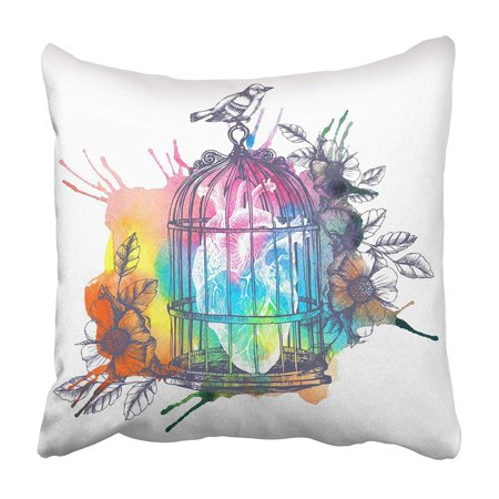 EREHome Bird Human Heart in Cage Vintage Raster Whit Watercolor Spot Paint Emotions Flow Pillowcase 16x16 inch - image 1 de 1
