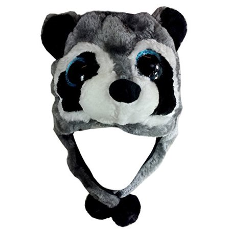 Critter Caps Big Eye Ralphie Raccoon Animal Brown Beanie Hat - One Size Fits Most Super Soft Plush Beenie Hats - Christmas Holiday Gift Ideas - Great for Boys and Girls