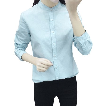 Casual Solid Stand Collar - Women Casual Solid Color Stand Collar Cotton Shirt Office Lady Career Blouse