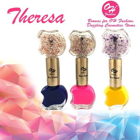 OH Fashion Nail Polish Double Apple Style Theresa Several Colors Dark Blue Pink Yellow 3 PCS 2 Colors in 1 Base Coat & Top Coat Manicure, Pedicure, Nail Color - 0.41 fl oz bottles