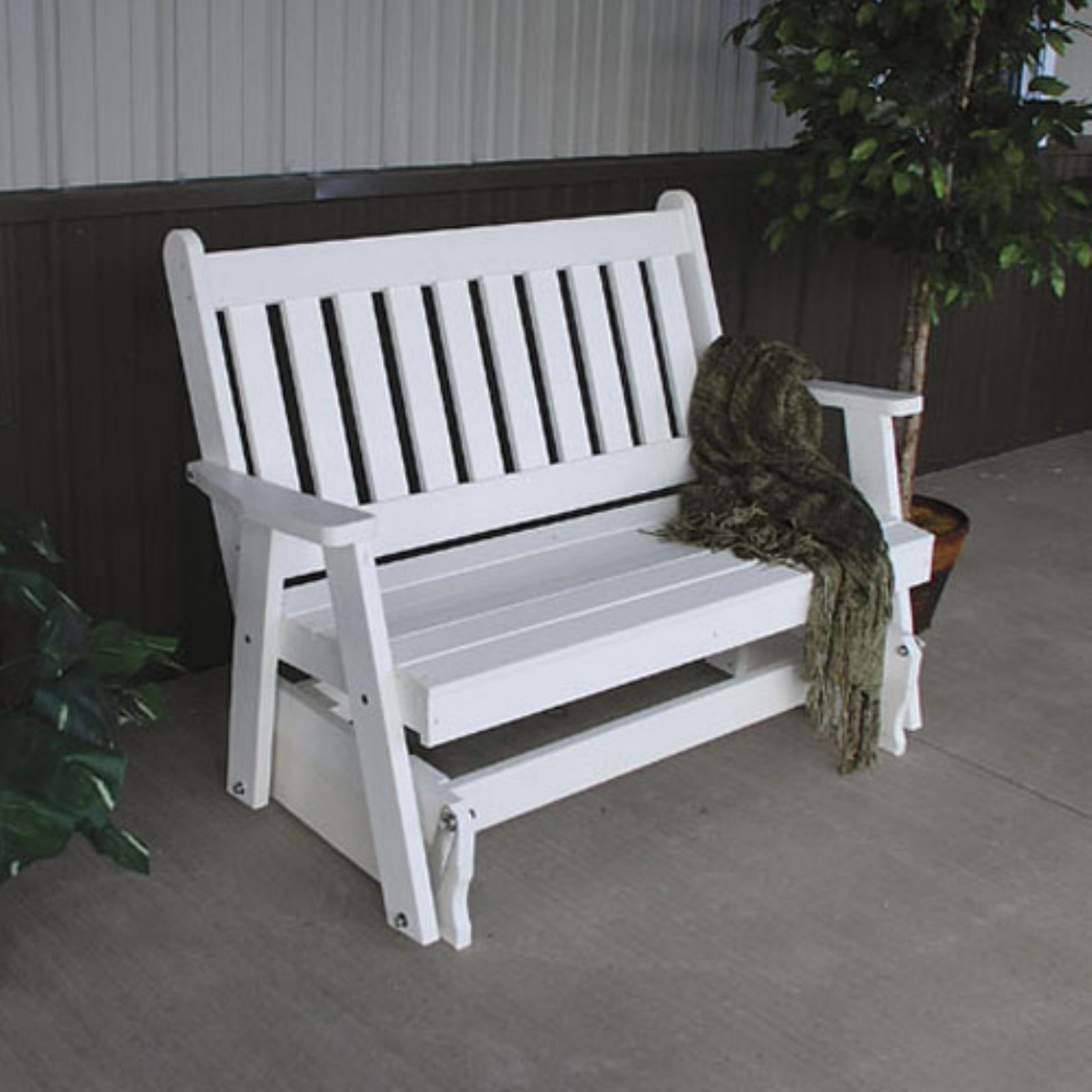 A & L Furniture Traditional English Recycled Plastic 4 ft. Outdoor Glider Loveseat