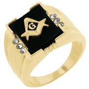 Kate Bissett R06239G-V01-13 18k Gold Plated Ring with Masonic Symbol and Sapphire and Onyx Accents with Round Cut Clear