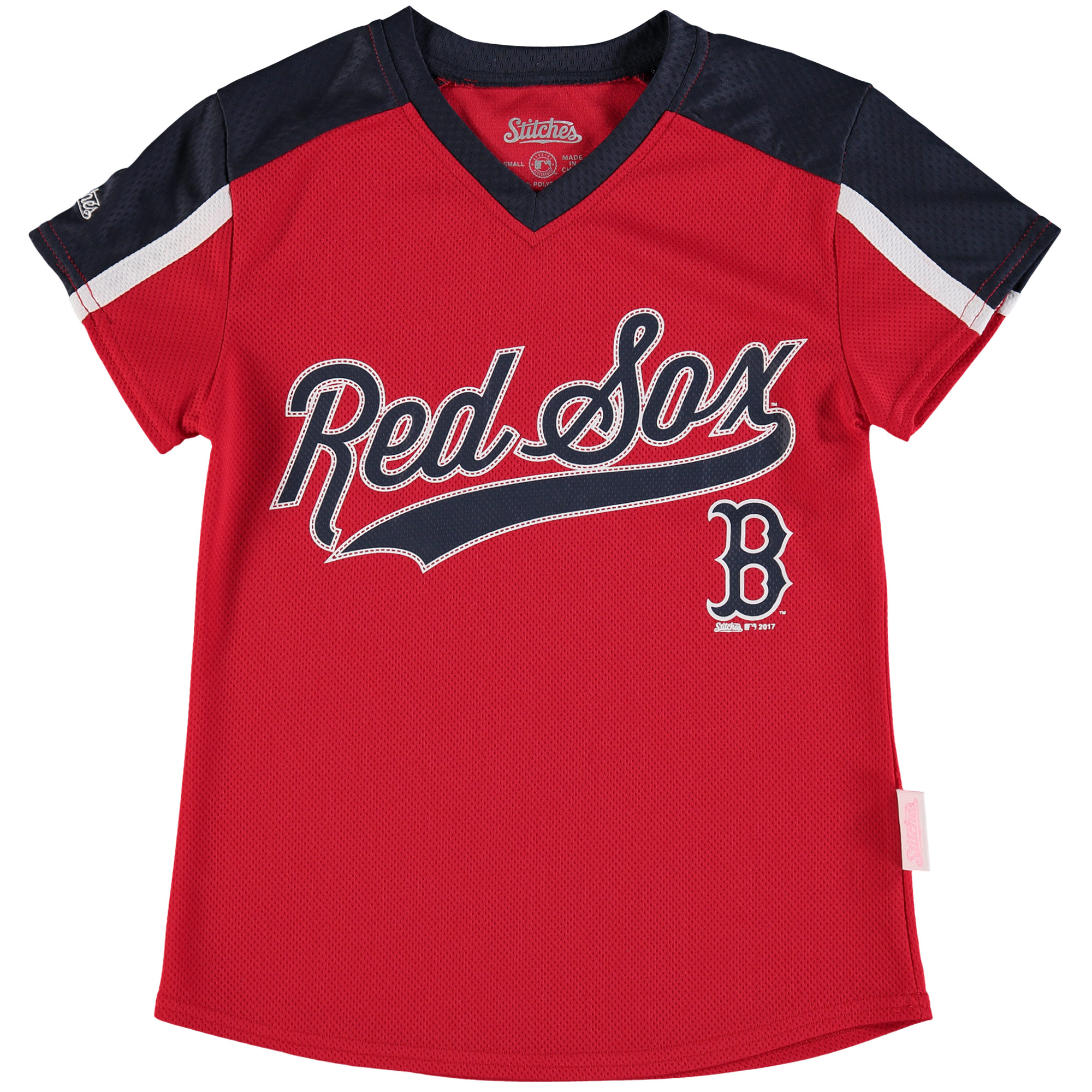 Boston Red Sox Stitches Girls Youth V-Neck Jersey T-Shirt - Red/Navy