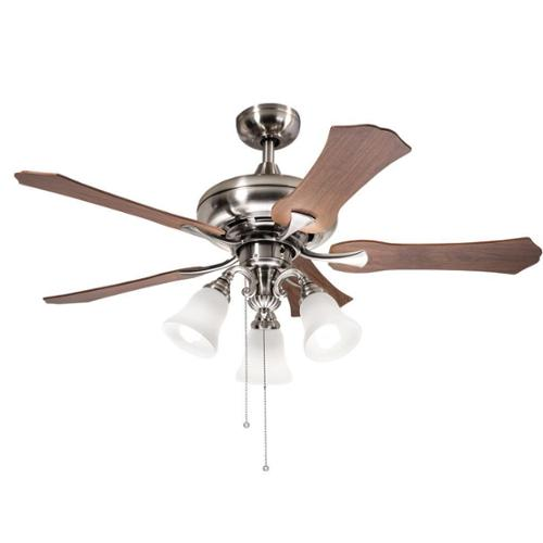 Aztec Lighting Kichler Lighting Traditional Brushed Nickel 52 inch Ceiling Fan with 3-light Kit and Reversable... by Overstock