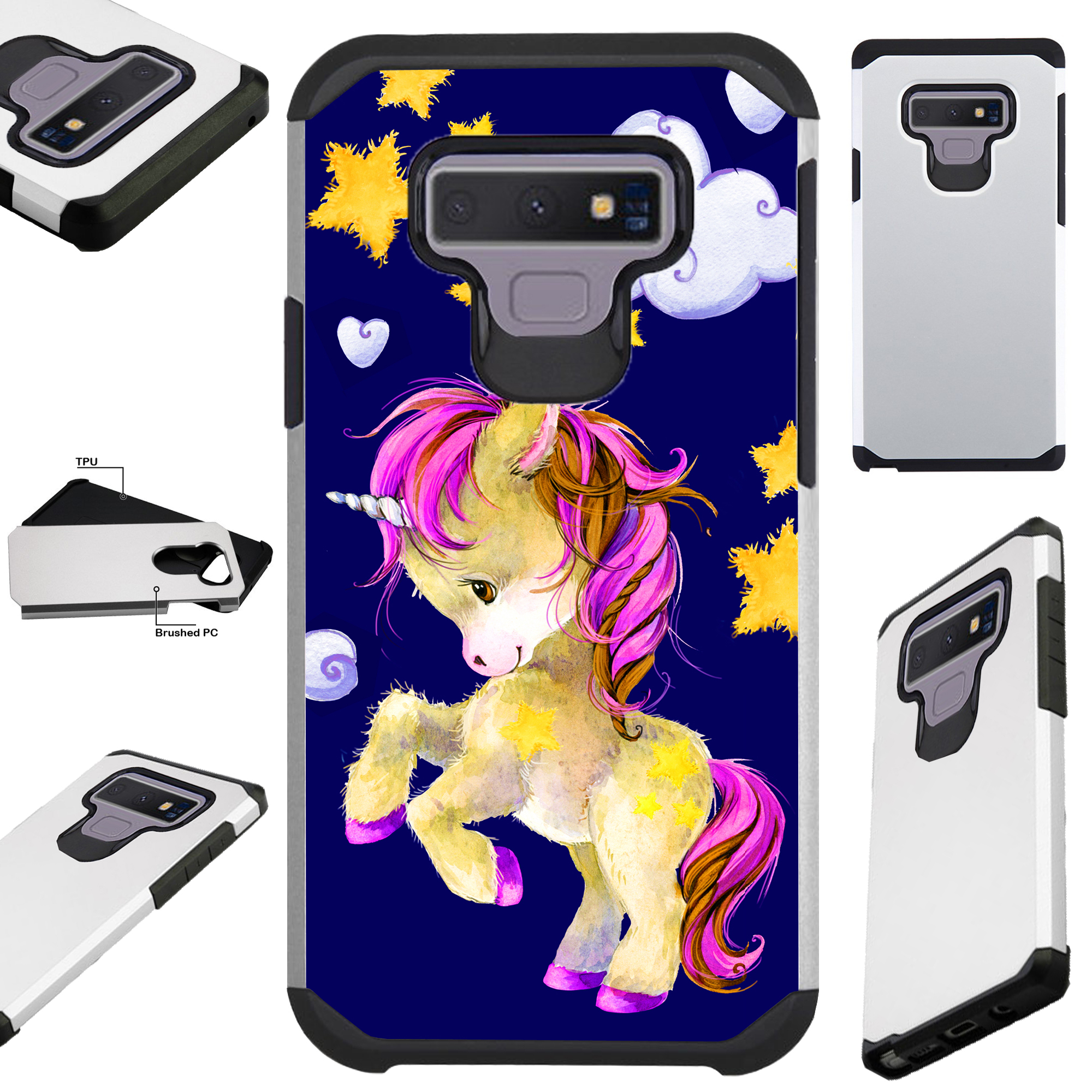 For Samsung Galaxy Note 9 Case Hybrid TPU Fusion Phone Cover (Kicking Unicorn)
