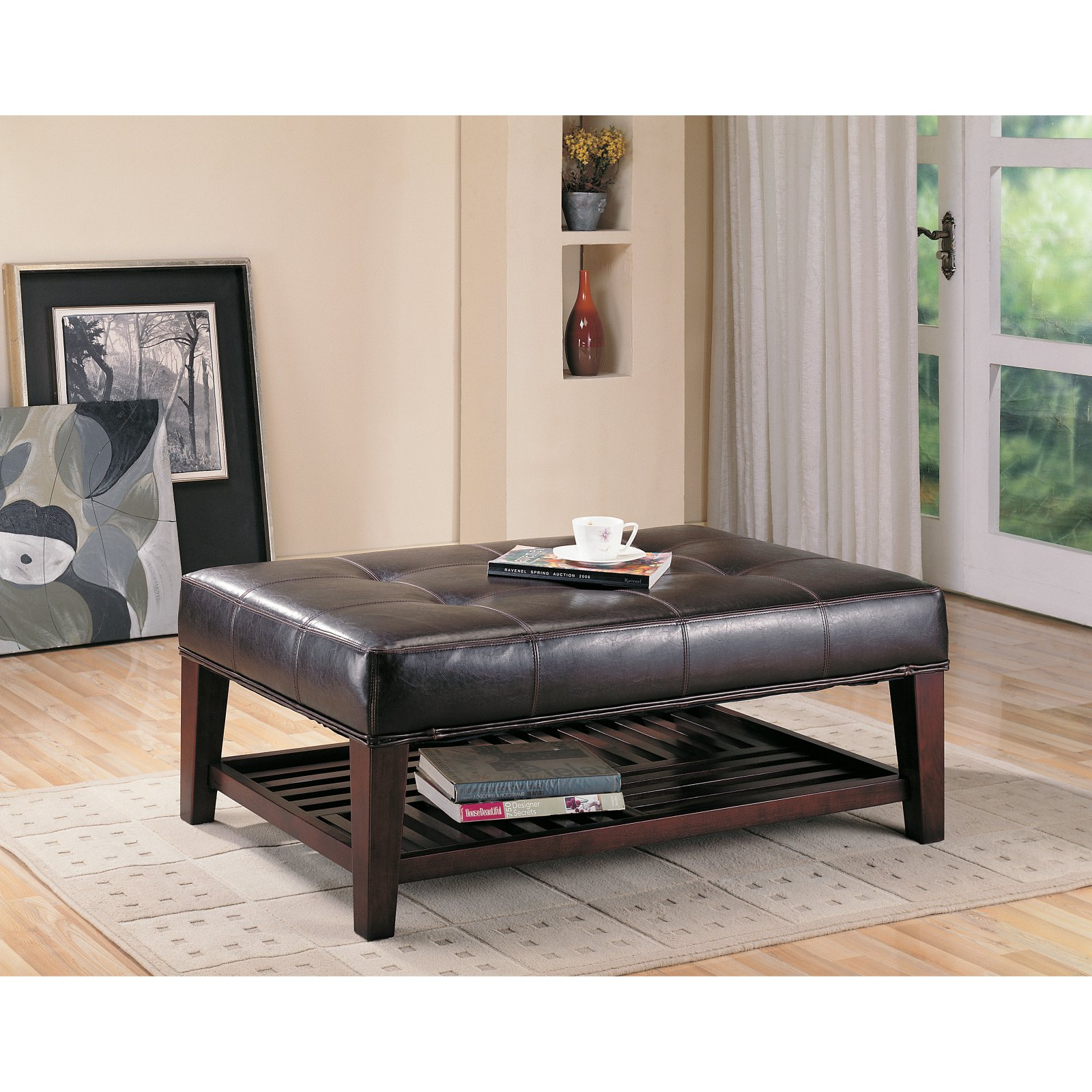 Tufted Accent Leatherette Ottoman, Brown