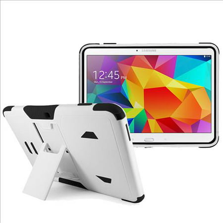 White Back Case - Samsung Galaxy Tab 4 10.1 / T530 Impact Silicone Case Dual Layer with Stand White Black