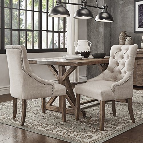 This button opens a dialog that displays additional images for this product with the option to zoom in or out. & SIGNAL HILLS Benchwright Button Tufts Wingback Hostess Chairs (Set ...