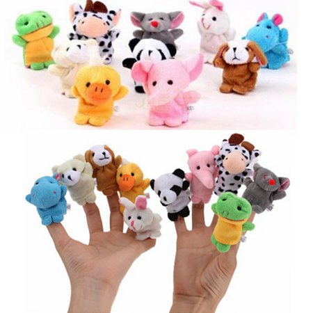 Set Of 10 Zoo Farm Animal Finger Puppets Plush Furry Cloth Toys For Kids Baby Bed Story Telling Toy