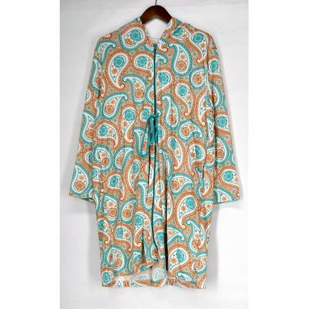 Cozelle Size L/XL Terry Velour Drawstring Robe Paisley Orange / Blue g412498 2 Ply Velour Terry
