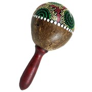 Large Coconut Maracas Shakers Matching Pair (2) -  Percussion musical instrument rattle by World Percussion USA - Painted design, stained handle (2)