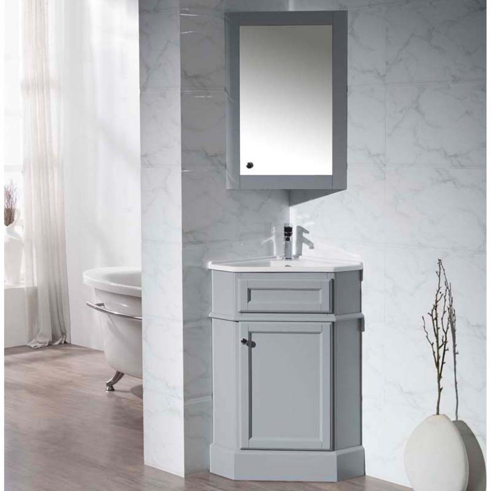Stufurhome Hampton 27 in. Corner Bathroom Vanity with Medicine Cabinet