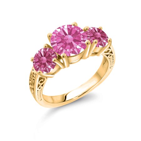 18K Yellow Gold Plated Silver 3-Stone Ring 8mm Set with Pink Zirconia from Swarovski