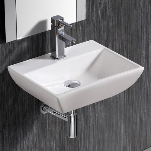 Elanti Modern Compact Ceramic 18 Wall Mount Bathroom Sink With Overflow Walmart Com Walmart Com