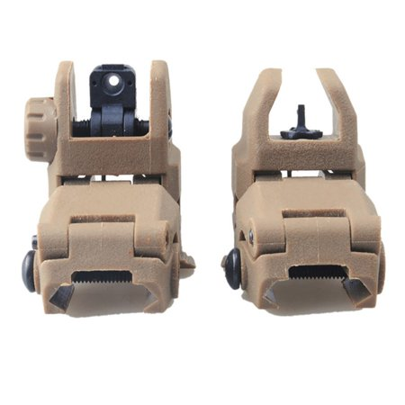 BALIGH 2 Pcs/lot Rail Gen1 Tactical Folding Front Rear Flip Up Backup Sights BUIS (Sporting Rear Sight)