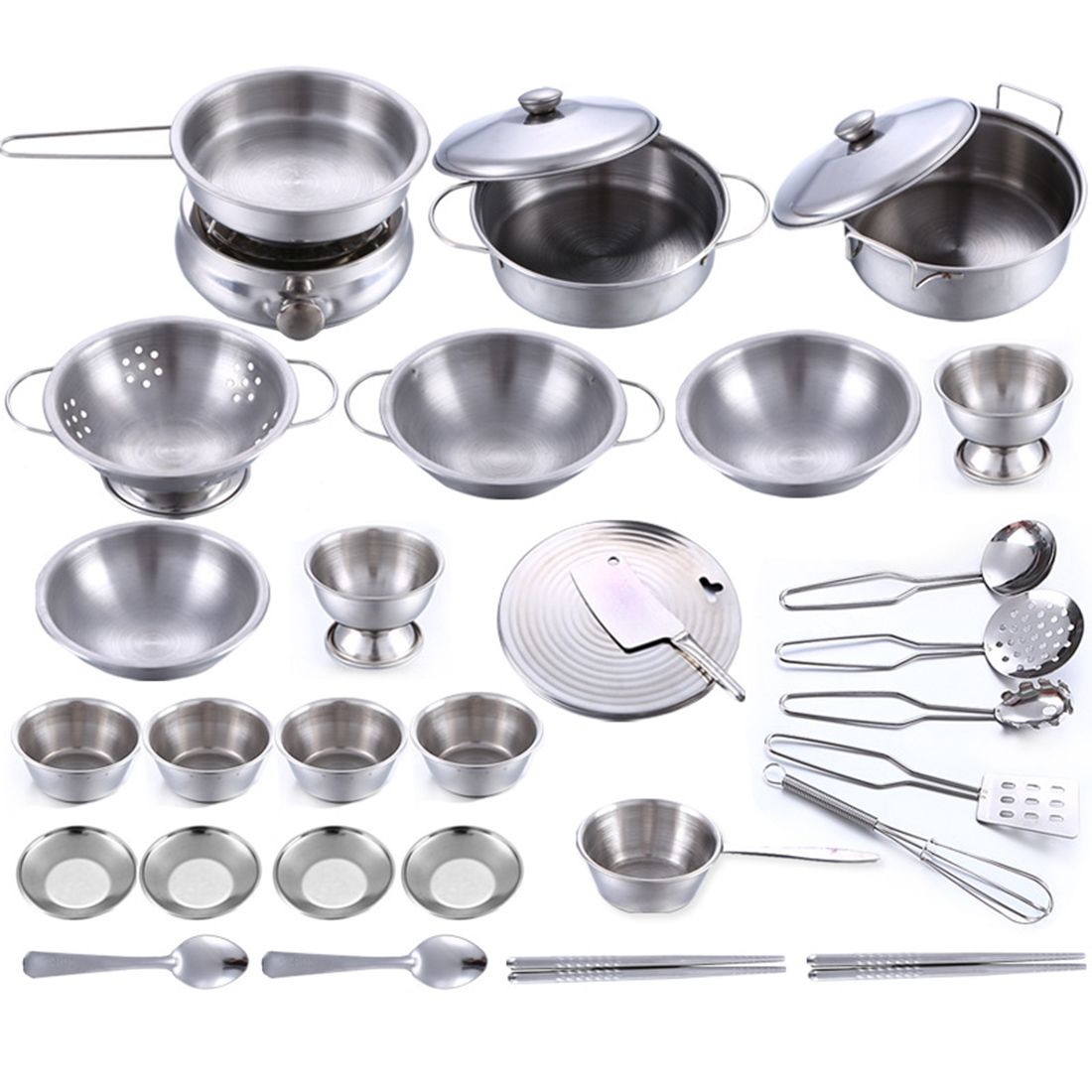 32Pcs Stainless Steel Kids Kitchen Toy Cooking Cookware Children Pretend & Play Kitchen Playset Silver by