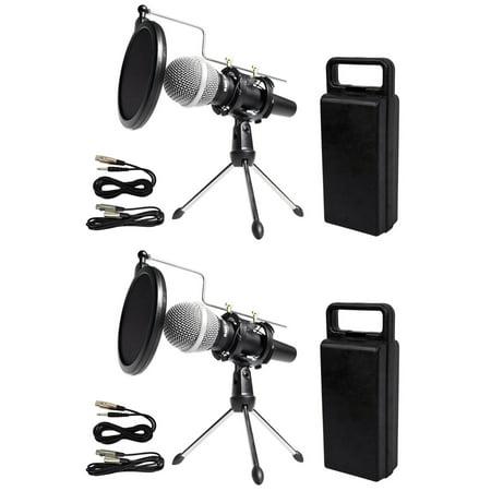 2 rockville dynamic podcasting podcast microphones stands pop filters cables. Black Bedroom Furniture Sets. Home Design Ideas
