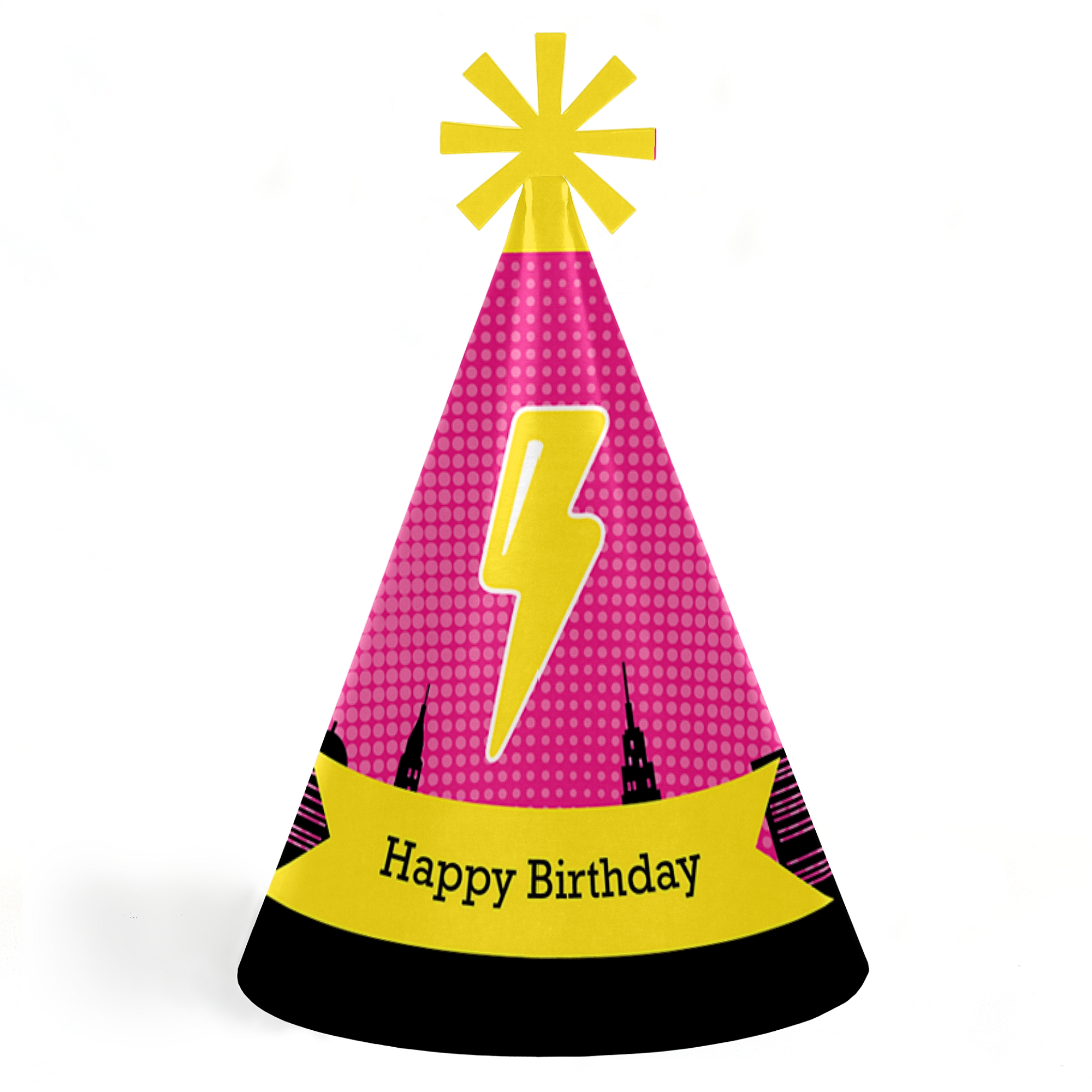 BAM! Girl Superhero - Cone Happy Birthday Party Hats for Kids and Adults - Set of 8 (Standard Size)