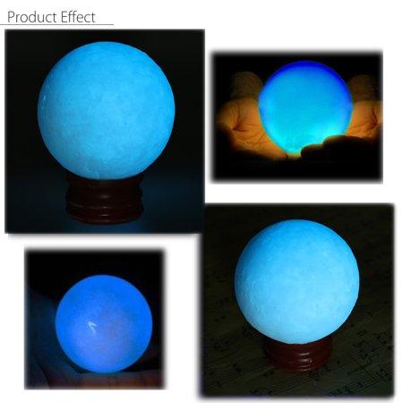 50mm Blue Glow In Dark Stone Quartz Crystal Sphere Luminous Ball & Base (White Quartz Crystal Sphere)
