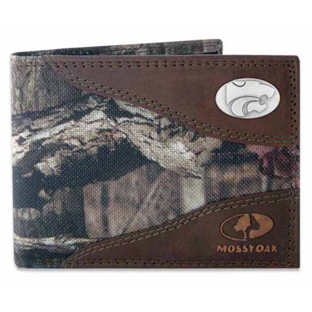 Kansas State Nylon and Leather Passcase Wallet (Mossy Oak)