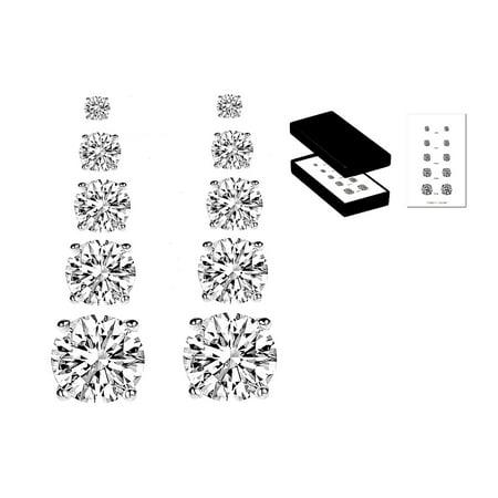 Five-Pair Sterling Silver & Cubic Zirconia Stud Earrings Set Italian Set Earrings