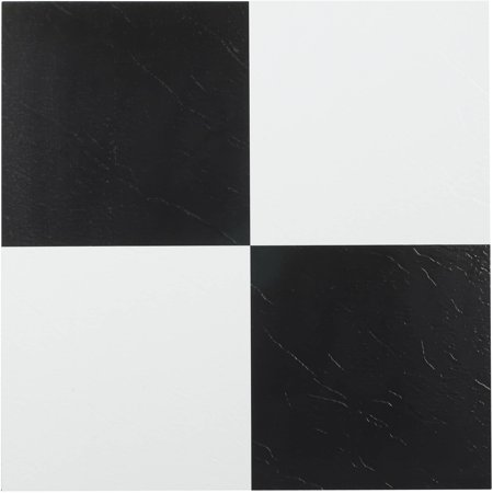 Tivoli Black & White 12x12 Self Adhesive Vinyl Floor Tile - 45 Tiles/45 sq. Ft