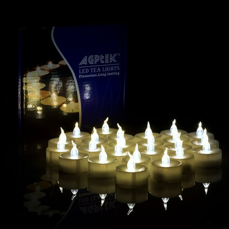 AGPtek Lot 100 Battery Operated LED Warm White Tea Light Candle Flickering Flashing Festival