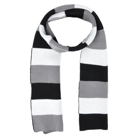 Simplicity Men / Women's Winter Long Rugby Knit Striped Scarf, Black/White