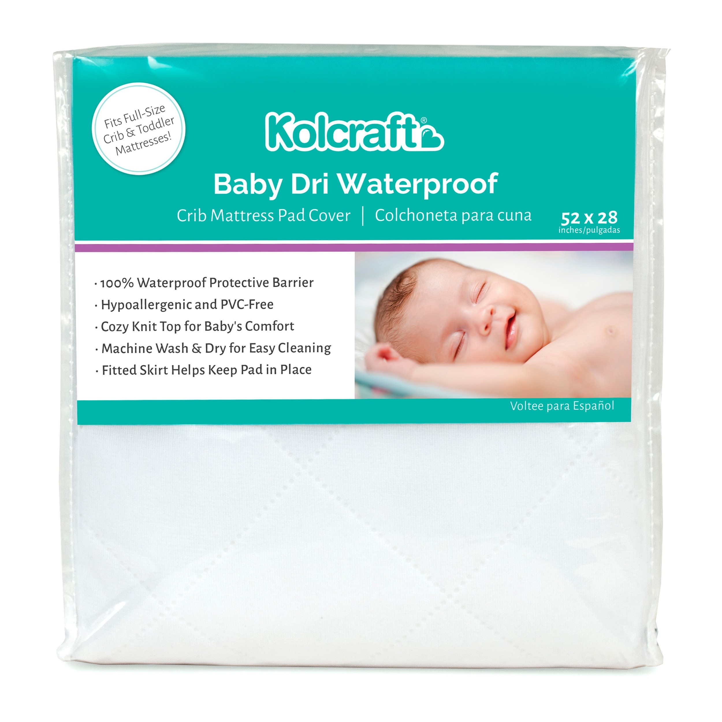 Infant Reversible Fitted White Fleece Crib Mattress Pad Waterproof 52 x 28