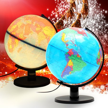 Illuminated Desk Globe - 12'' Geography Learning Desktop learningtool Decor Illuminated Rotating Globe Earth World Map Christmas Kid Gift