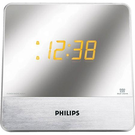 philips aj3231 dual alarm clock radio with mirror finish. Black Bedroom Furniture Sets. Home Design Ideas